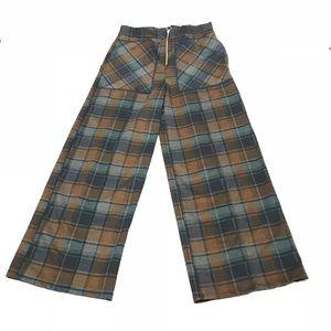 NWOT Zara Plaid Wide Long Leg Trouser with Zipper